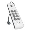 Multiprise Parafoudre Belkin 8 prises, 2 ports USB 2.4A et cordon de 2 mètres à 17,85 €